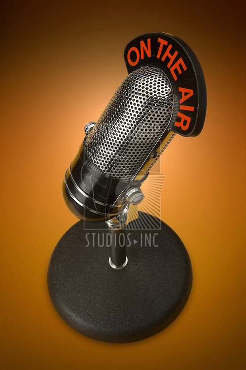 Vintage microphone with clipping path