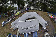 Duisburg, GERMANY.  Riggers bagged up.  FISA Masters World Championship. .Wedau Regatta Course .12:01:57  Thursday  06/09/2012   ..[Mandatory Credit Peter Spurrier:  Intersport Images]  ..Rowing, Masters, 2012010449.jpg...