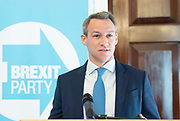 Brexit Party launch event<br /> Nigel Farage and Richard Tice, party chairman launch the next tranche of Brexit Party candidates at an event in London, Great Britain <br /> House Terrace<br /> 23rd April 2019<br /> <br /> New candidates standing for the Brexit Party in the European Parliament Elections in May 2019 <br /> <br /> <br /> <br /> James Glancy <br /> Veteran and broadcaster <br /> <br /> <br /> <br /> Photograph by Elliott Franks
