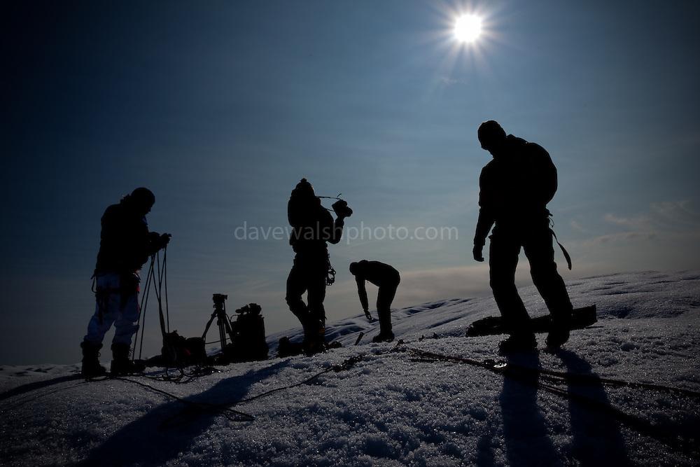L-R, Stephen Nugent, cameraman, Nick Cobbing  photographer, Richard Bates, geophysicist, Eric Philips, explorer and adventurer