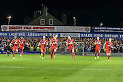 York City celebrate their penalty victory during the Capital One Cup match between York City and Bradford City at Bootham Crescent, York, England on 11 August 2015. Photo by Simon Davies.