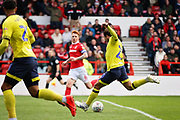 Blackburn Rovers midfielder Bradley Dack (23)  lets fly with a shot from just inside the box during the EFL Sky Bet Championship match between Nottingham Forest and Blackburn Rovers at the City Ground, Nottingham, England on 13 April 2019.