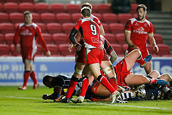 Bristol Rugby replacement Jamal Ford-Robinson scores his first try of the match - Mandatory byline: Rogan Thomson/JMP - 22/01/2016 - RUGBY UNION - Ashton Gate Stadium - Bristol, England - Bristol Rugby v Ulster A - British & Irish Cup.