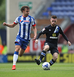 Alex Gilbey of Wigan Athletic (L) and Jack Byrne of Blackburn Rovers in action - Mandatory by-line: Jack Phillips/JMP - 13/08/2016 - FOOTBALL - DW Stadium - Wigan, England - Wigan Athletic v Blackburn Rovers - EFL Sky Bet Championship