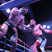 "Jean Carlos ""Chapito"" Rivera (L) and  Jason Sanchez exchange blows during their championship boxing match for the WBO Junior World Title at the Hotel El Panama Convention Center on Wednesday, October 31, 2018 in Panama City, Panama. (Alex Menendez via AP)"