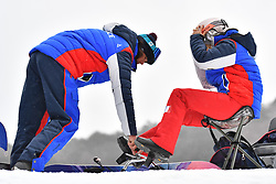 Les Coulisses, Behind the scenes at the ParaSnowboard, Snowboard Banked Slalom during  the PyeongChang2018 Winter Paralympic Games, South Korea.