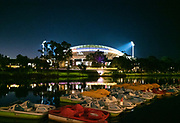 Adelaide Oval arena along the river lit up for a game