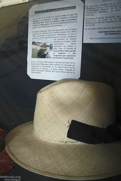 The Panama hat that once shaded former de facto head of state and general Efrain Rios Montt is displayed inside the Rabinal Achi Community Museum. On June 14, 2003, Rios Montt, who ruthlessly ruled Guatemala in 1982-83 and oversaw the worst wartime atrocities, scheduled a campaign stop in Rabinal. The political rally coincided with the proper burial of 70 wartime victims recently exhumed from mass graves. As locals stoned the platform where the former dictator stood, Rios Montt lost his hat during the ensuing commotion. The event is commemorated annually as the Day of Rabinalese Dignification. Rabinal, Baja Verapaz, Guatemala. January 30, 2005.
