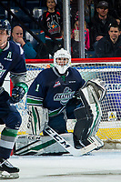 KELOWNA, CANADA - JANUARY 30: Roddy Ross #1 of the Seattle Thunderbirds kneels in net against the Kelowna Rockets  on January 30, 2019 at Prospera Place in Kelowna, British Columbia, Canada.  (Photo by Marissa Baecker/Shoot the Breeze)