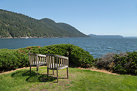 Chairs overlooking Eastsound, Rosario Resort, Orcas Island San Juan Islands Washington