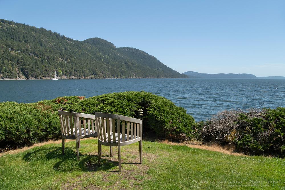 Chairs overlooking Eastsound, Rosario Resort, Orcas Island San Juan Islands Washington