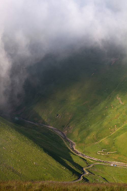 Morning mist from Fans Law, Scottish Borders (the valley between Megget & Talla Reservoir)