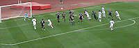 Ohio State forward Omar Vallejo (10) attempts a free kick that was wide of the goal as OSU takes on Binghamton in the second half of an NCAA men's college soccer game in Columbus, Ohio on Sunday, Sept. 11, 2011, at Jesse Owens Memorial Stadium.