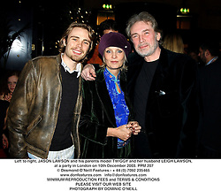 Left to right, JASON LAWSON and his parents model TWIGGY and her husband LEIGH LAWSON at the Krug Christmas party hosted by Sir Trevor Nunn and his wife Imogen Stubbs at The Criterion, 224 Piccadilly Circus, London on 10th December 2003.