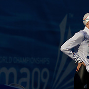 Britta Steffen pf Germany at the blocks before winning the Women's 50m freestyle at the World Swimming Championships in Rome, Italy on Sunday, August 2, 2009. Photo Tim Clayton...