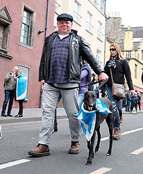 All Under One Banner March, Edinburgh, 5 October 2019<br /> <br /> Pictured: A dog with a flag<br /> <br /> Alex Todd | Edinburgh Elite media