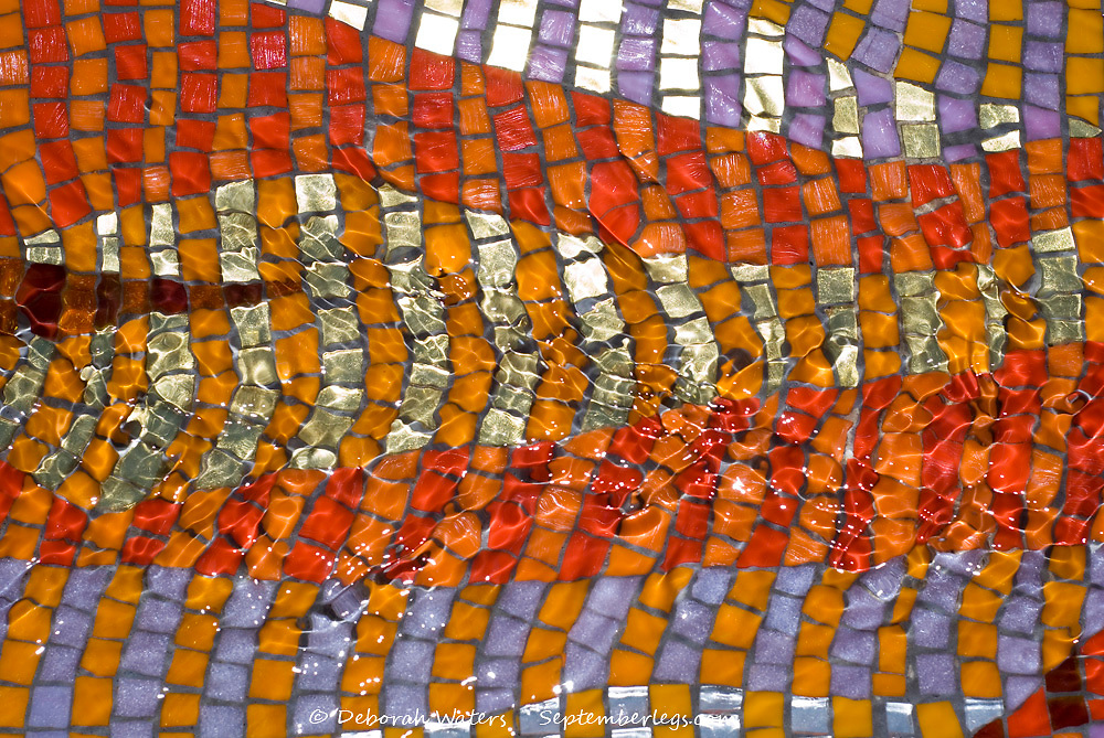 Mosaic Rill by Emma Biggs, Howard Street, Sheffield UK, 2012 : Close up on water trickling over colourful mosaic tiles