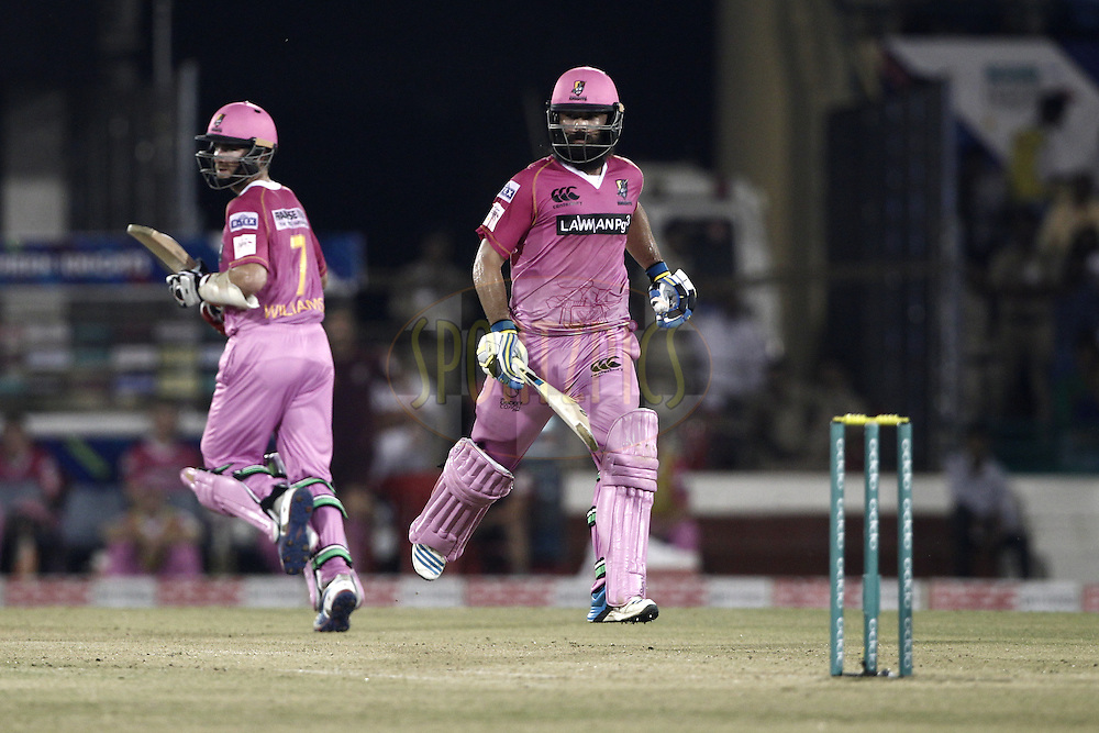 Anton Devcich of the NORTHERN KNIGHTS with Kane Williamson of the NORTHERN KNIGHTS during match 3 of the Oppo Champions League Twenty20 between the Cape Cobras and the Northern Knights held at the Chhattisgarh International Cricket Stadium, Raipur, India on the 19th September 2014<br /> <br /> Photo by:  Deepak Malik / Sportzpics/ CLT20<br /> <br /> <br /> Image use is subject to the terms and conditions as laid out by the BCCI/ CLT20.  The terms and conditions can be downloaded here:<br /> <br /> http://sportzpics.photoshelter.com/gallery/CLT20-Image-Terms-and-Conditions-2014/G0000IfNJn535VPU/C0000QhhKadWcjYs