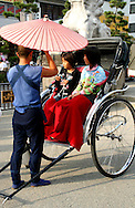 Rickshaw have made a big comeback in Japan, especially around traditional places such as Kamakura and Kyoto, though their use is more a photo opportunity than for real transportation.  Usually the ride consists of a quick, token 15 minute tour.