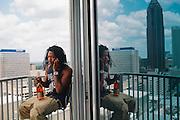 Atlanta rapper Ca$h Out seen in his condo June 15, 2012.