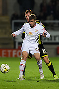 Crewe Alexandra midfielder James Jones shields the ball from Burton Albion midfielder Tom Naylor during the Sky Bet League 1 match between Burton Albion and Crewe Alexandra at the Pirelli Stadium, Burton upon Trent, England on 20 October 2015. Photo by Aaron Lupton.
