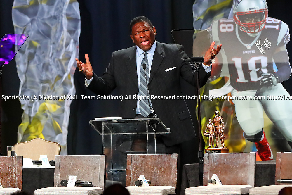 HOUSTON, TX - FEBRUARY 04:  NFL Hall of Famer Jackie Slater speaks to the audience after he recieves the Bart Starr Award for his son New England Patriots wide receiver Matthew Slater during the Bart Starr Award Super Bowl Breakfast on February 04, 2017, at the Marriott Marquis in Houston, Texas.  (Photo by Rich Graessle/Icon Sportswire)