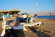Israel, Eilat beach people, at leisure on the shore