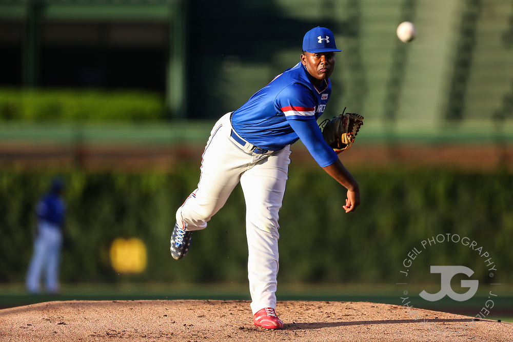 CHICAGO, IL - JULY 29:  Kumar Rocker delivers a first inning pitch during the Under Armour All-America Game at Wrigley Field on Saturday, July 29, 2017 in Chicago, Illinois. (Photo by J. Geil/MLB Photos via Getty Images) *** Local Caption ***