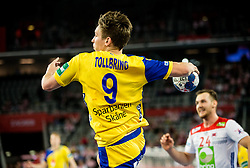 Jerry Tollbring of Sweden during handball match between National teams of Sweden and Norway on Day 7 in Main Round of Men's EHF EURO 2018, on January 24, 2018 in Arena Zagreb, Zagreb, Croatia.  Photo by Vid Ponikvar / Sportida