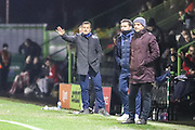 Forest Green Rovers manager, Mark Cooper gives instructions during the The FA Cup match between Forest Green Rovers and Exeter City at the New Lawn, Forest Green, United Kingdom on 2 December 2017. Photo by Shane Healey.