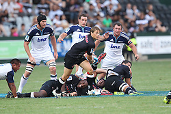 Charl McLeod of The Sharks during the Super15 match between The Mr Price Sharks and The Blues held at Mr Price Kings Park Stadium in Durban on the 26th February 2011..Photo By:  Ron Gaunt/SPORTZPICS