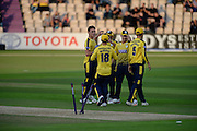 Hampshire celebrates the wicket of James Hildreth during the NatWest T20 Blast South Group match between Hampshire County Cricket Club and Somerset County Cricket Club at the Ageas Bowl, Southampton, United Kingdom on 29 July 2016. Photo by David Vokes.