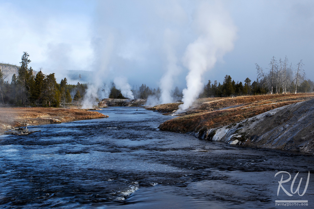 Firehole River at Upper Geyser Basin, Yellowstone National Park, Wyoming