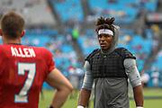 Carolina Panthers quarterback Cam Newton (1) talking to quarterback Kyle Allen (7) during Fan Fest at Bank of America Stadium, Friday, Aug. 2, 2019, in Charlotte, NC. (Brian Villanueva/Image of Sport)