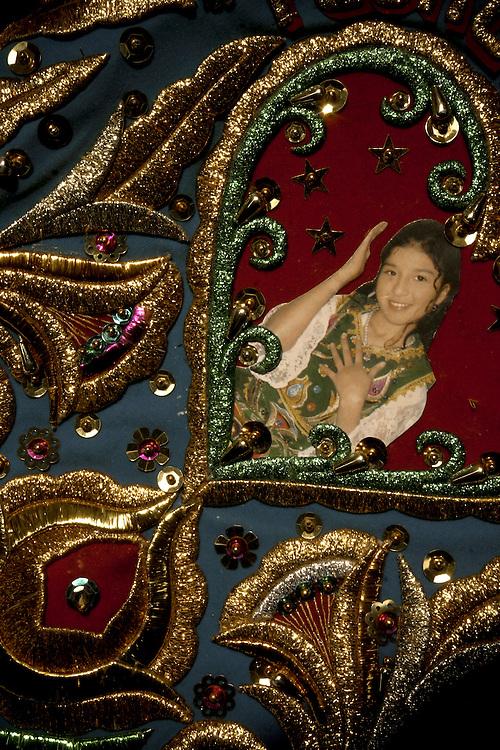 Detalle de vestuario de cantante Flor Romero. Por lo general dentro de estas polleras se encuentran las fotografias de las cantantes asi como dibujos que aluden el carcter del origen rural: paisajes campestres ,, animales, etc.