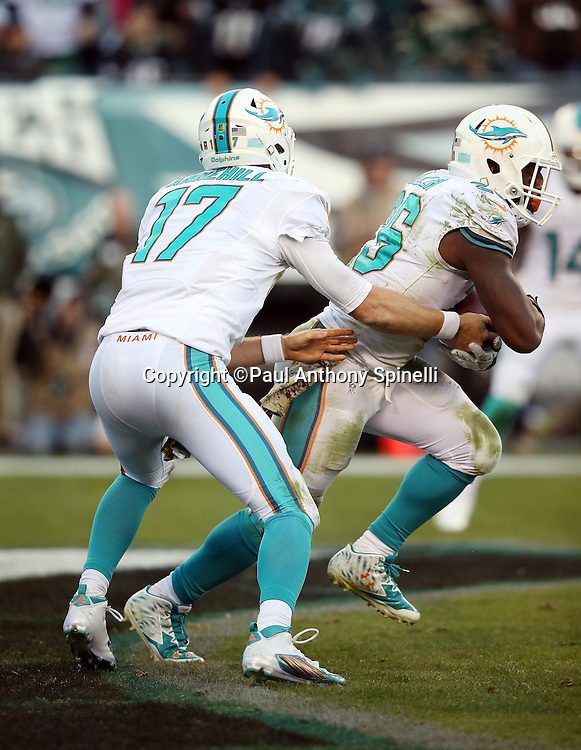 Miami Dolphins running back Lamar Miller (26) takes a handoff deep in his own end zone from Miami Dolphins quarterback Ryan Tannehill (17) during the 2015 week 10 regular season NFL football game against the Philadelphia Eagles on Sunday, Nov. 15, 2015 in Philadelphia. The Dolphins won the game 20-19. (©Paul Anthony Spinelli)