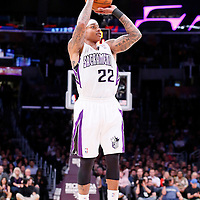 28 February 2014: Sacramento Kings point guard Isaiah Thomas (22) takes a jump shot during the Los Angeles Lakers 126-122 victory over the Sacramento Kings at the Staples Center, Los Angeles, California, USA.