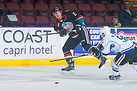 KELOWNA, CANADA - OCTOBER 26: Cal Foote #25 of the Kelowna Rockets passes the puck against the Victoria Royals on October 26, 2016 at Prospera Place in Kelowna, British Columbia, Canada.  (Photo by Marissa Baecker/Shoot the Breeze)  *** Local Caption ***