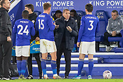 Brendan Rodgers gives instructions during the The FA Cup match between Leicester City and Wigan Athletic at the King Power Stadium, Leicester, England on 4 January 2020.