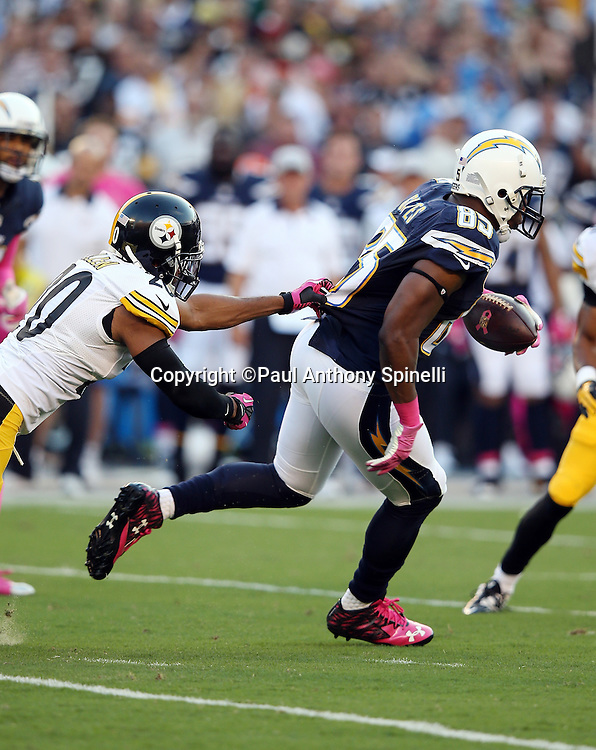 San Diego Chargers tight end Antonio Gates (85) catches a 12 yard pass for a first quarter first down during the 2015 NFL week 5 regular season football game against the Pittsburgh Steelers on Monday, Oct. 12, 2015 in San Diego. The Steelers won the game 24-20. (©Paul Anthony Spinelli)