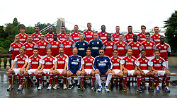 Bristol City line up for their team photo (Back row l-r; Chris Abbott, Liam Fontaine, Marvin Elliot, Derrick Williams, James Wilson, Aden Flint, Jay Emmanuel-Thomas, Ryan Taylor, Aaron Amdi-Holloway, Luke Dobie, Mitch Brundle. Middle row l-r; Rhys Jordan, Scott Wagstaff, Brendan Moloney, Jordan Wynter, Stephen Pearson, Frankie Fielding, Elliot Parish, Kevin Krans, Greg Cunningham, Albert Adomah,  Jack Batten, Toby Ajala. Front row l-r: Tom King, Wes Burns, Joe Bryan, Louis Carey, Sean O'Driscoll, Sam Baldock, John Pemberton, Neil Kilkenny, Liam Kelly, Bobby Reid, Lewis Hall) - Photo mandatory by-line: Kieran McManus/JMP - Tel: Mobile: 07966 386802 31/07/2013 - SPORT - FOOTBALL - Avon Gorge Hotel - Clifton Suspension bridge - Bristol -  Team Photo