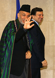 BRUSSELS, BELGIUM - MAY-12-2005 - Afgan President Hamid Karzai (L) is greeted by the President of the European Commission Jose Manuel Barroso (R), at the European Commission in Brussels. (PHOTO © JOCK FISTICK)<br />
