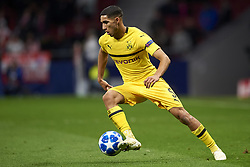 November 6, 2018 - Madrid, Spain - Achraf Hakimi of Borussia Dortmund controls the ball during the Group A match of the UEFA Champions League between Atletico de Madrid and Borussia Dortmund at Wanda Metropolitano Stadium, Madrid on November 06 of 2018. (Credit Image: © Jose Breton/NurPhoto via ZUMA Press)