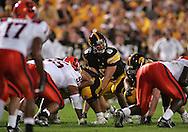 08 SEPTEMBER 2007: Iowa quarterback Jake Christensen (6) looks down the line in Iowa's 35-0 win over Syracuse at Kinnick Stadium in Iowa City, Iowa on September 8, 2007.
