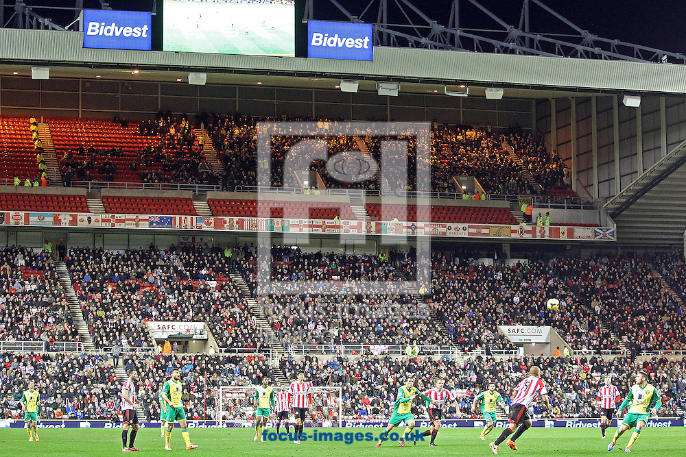 Picture by Paul Chesterton/Focus Images Ltd +44 7904 640267<br /> 21/12/2013<br /> The traveling Norwich City fans during the Barclays Premier League match at the Stadium Of Light, Sunderland.