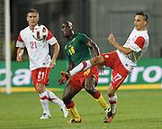 SZCZECIN 11/08/2010.FOOTBALL INTERNATIONAL FRIENDLY.POLAND v CAMEROON.SLAWOMIR PESZKO /POL/ I HENRI BIENVENU NSTAMA /CAM/.Fot: Piotr Hawalej / WROFOTO