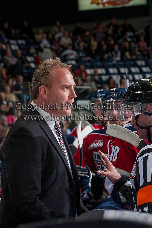 KELOWNA, CANADA - MARCH 27: Mike Williamson, head coach of the Tri-City Americans speaks to referees from the bench against the Kelowna Rockets on March 27, 2015 at Prospera Place in Kelowna, British Columbia, Canada.  (Photo by Marissa Baecker/Getty Images)  *** Local Caption *** Mike Williamson;