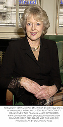 MRS JUDITH KEPPEL winner of £1million on a TV quiz show, at a reception in London on 10th April 2001.ONA 12