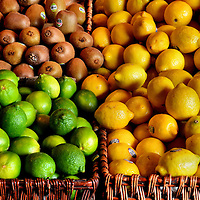 Lemons, Limes and Kiwi Fruit at Farmers Market in Vancouver, Canada