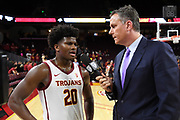 Nov 8, 2019; Los Angeles, CA, USA; Pac-12 Networks analyst Don MacLean (right) interviews Southern California Trojans guard Ethan Anderson (20) after the game against the Portland Pilots  at Galen Center USC defeated Portland State 76-65.